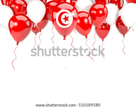 Flag of tunisia, with balloons frame isolated on white. 3D illustration