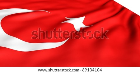 Flag of Turkey against white background. Close up.