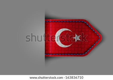 Flag of Turkey in the form of a glossy textured label or bookmark. - stock photo