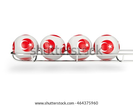 Flag of turkey on lottery balls. 3D illustration