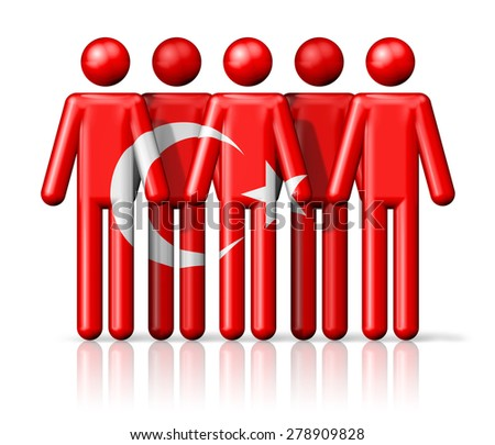 Flag of Turkey on stick figure - national and social community symbol 3D icon - stock photo