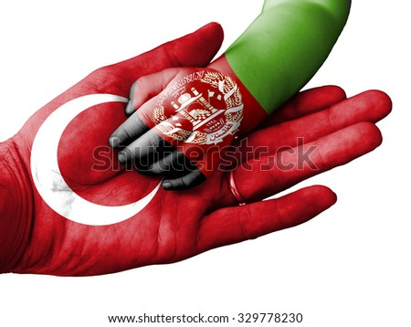Flag of Turkey overlaid the hand of an adult man holding a baby hand with the flag of Afghanistan overprinted. Conceptual image for help, aid, assistance, rescue. Isolated on white background