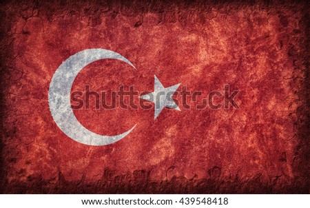 Flag of Turkey painted onto a rough wall