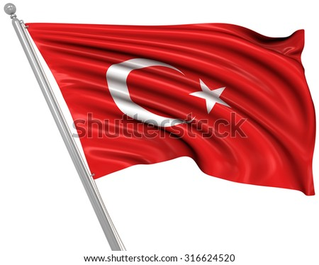 Flag of Turkey , This is a computer generated and 3d rendered image.