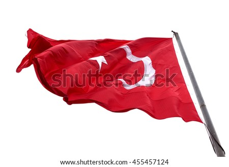 Flag of Turkey waving in wind day. Isolated on white background. - stock photo