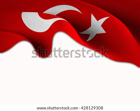 Flag of Turkey waving on a white background
