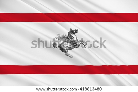 Flag of Tuscany is a region in central Italy - stock photo