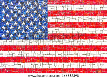 Flag of U.S.A. with mosaic texture - stock photo
