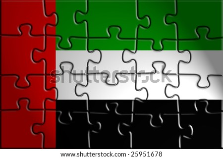 Flag of UAE, national symbol illustration clipart