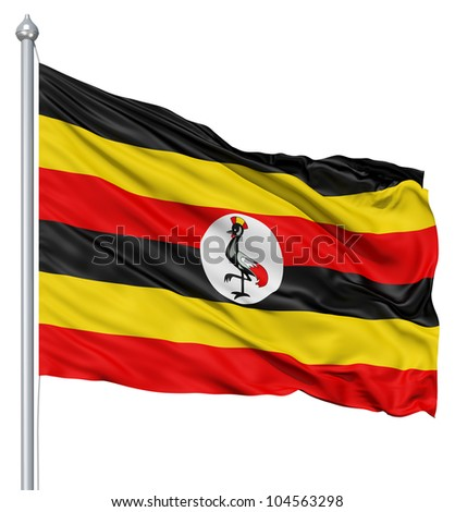 Flag of Uganda with flagpole waving in the wind against white background - stock photo