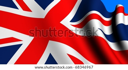Flag of UK against blue background. Close up. - stock photo