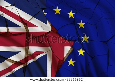 Flag of UK and EU on a cracked paint wall. A symbol of uncertainty after having an EU In/Out referendum and an anti-Europe petition gained widespread public support. Political and economic concept. - stock photo