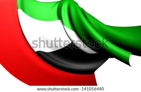 Flag of United Arab Emirates. Close Up. - stock photo