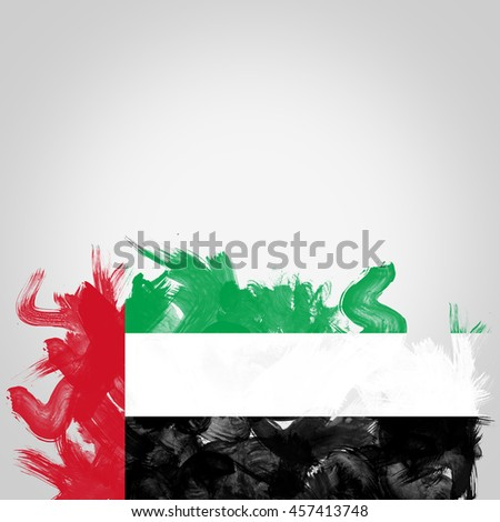 flag of United Arab Emirates, digital art Watercolor background effect.