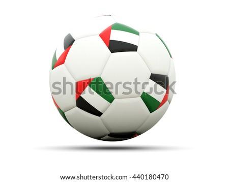 Flag of united arab emirates on football, isolated on white. 3D illustration - stock photo