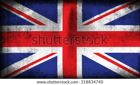 Flag of United Kingdom, Great Britain, British Flag painted on paper texture - stock photo