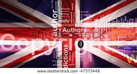 Flag of United Kingdom, national country symbol illustration wavy fabric national copyright law - stock photo