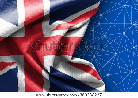 Flag of United Kingdom on connections background