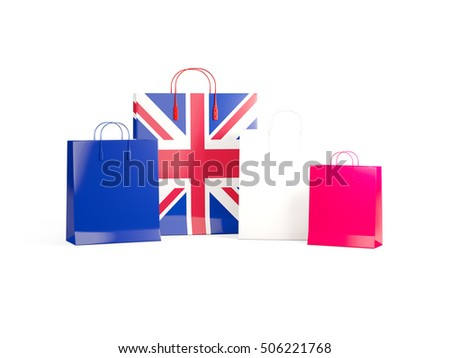 Flag of united kingdom on shopping bags. 3D illustration