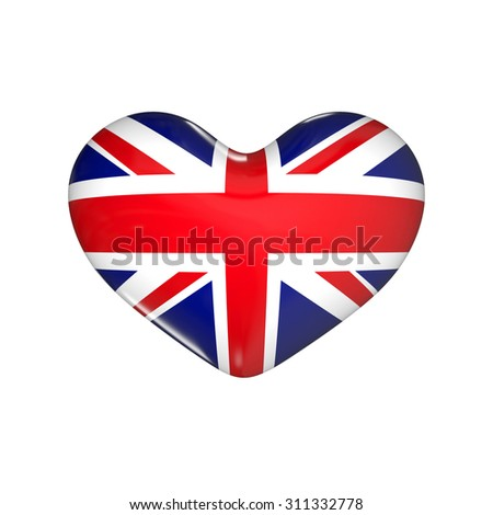 flag of United Kingdom on the heart. England. 3d render illustration - stock photo