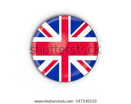 Flag of united kingdom, round icon with metal frame isolated on white. 3D illustration