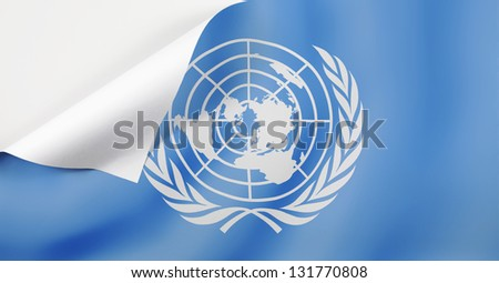 Flag of United Nations with a curl at the corner with blank space for text. - stock photo