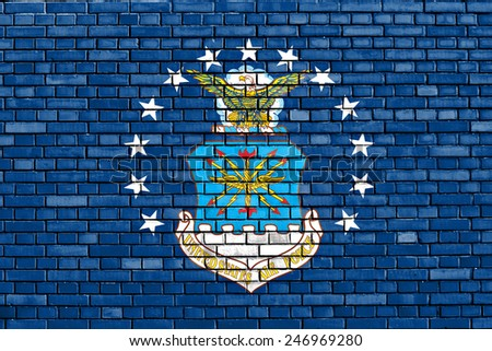 flag of United States Air Force painted on brick wall - stock photo