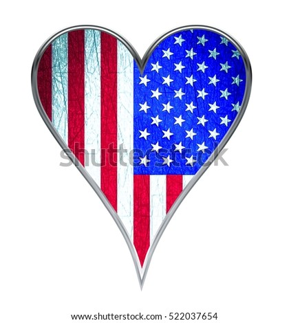 Flag of united states of america, heart shaped.