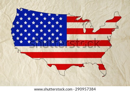 Flag of United States of America in USA map with old paper texture - Independence Day - stock photo