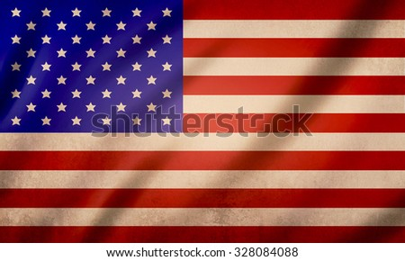 Flag of United States of America, old paper texture  vintage background