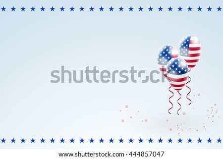 Flag of United States of America on air balloons. Ribbon twisted under the balloon. Greeting card Independence Day of USA, July 4th.