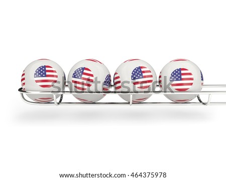 Flag of united states of america on lottery balls. 3D illustration