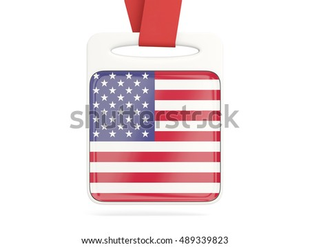 Flag of united states of america, square card with red ribbon. 3D illustration