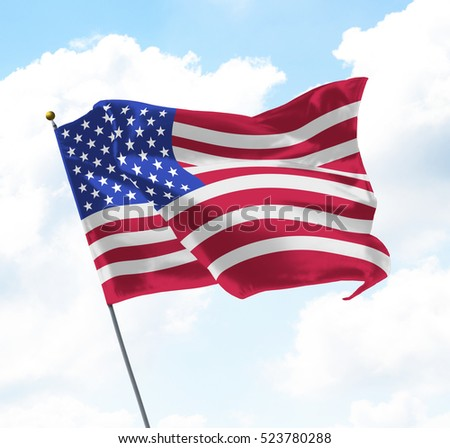 Flag of United States of America USA Raised Up in The Sky