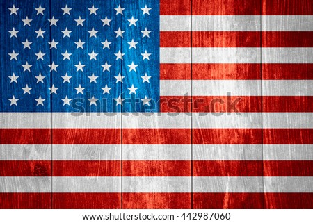 flag of United States or American banner on wooden background, USA
