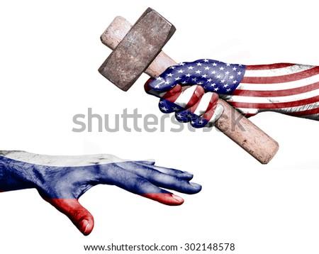Flag of United States overprinted on a hand holding a heavy hammer hitting a hand representing the Russia. Conceptual image for political, fiscal or social aggressions, penalties, taxation - stock photo