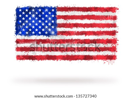 Flag of United States painted with watercolors on an isolated background
