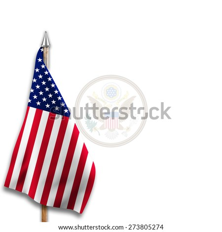 Flag of  United States with Great Seal of the United States