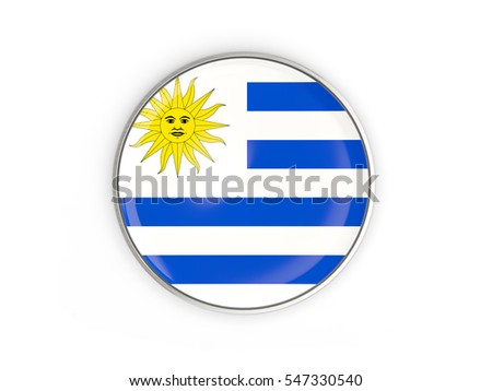 Flag of uruguay, round icon with metal frame isolated on white. 3D illustration