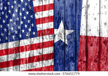 Flag of US and Texas painted on wooden frame - stock photo