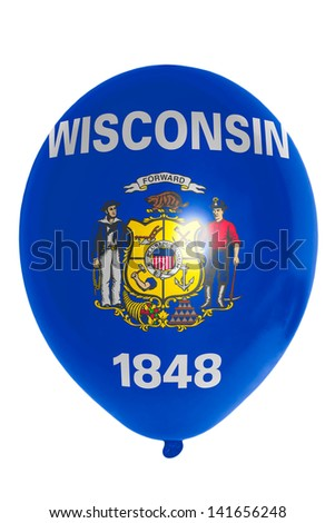 flag of us state of wisconsin balloon - stock photo
