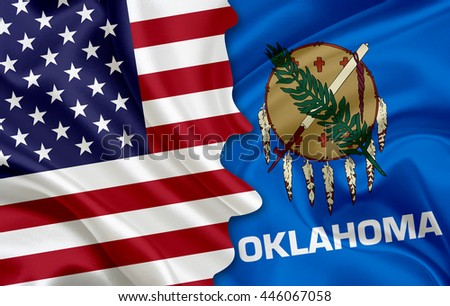 Flag of USA and flag of the State of Oklahoma