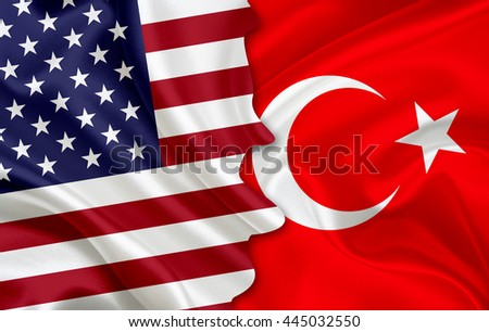 Flag of USA and flag of Turkey