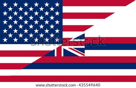 Flag of USA and Hawaii state (USA)