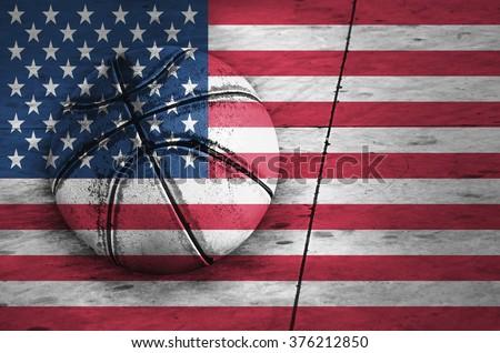 Flag of USA, background, texture and basketball ball - stock photo