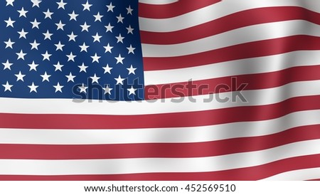 Flag of USA, fluttering in the wind. 3D rendering.