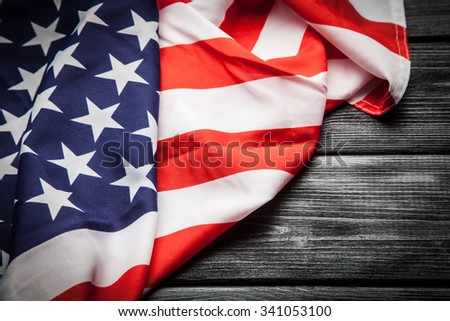 Flag of USA on dark wood background - stock photo