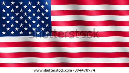 Flag of USA waving in the wind giving an undulating texture of folds in the fabric. The Image is in the official ratio of the flag - 10:19.