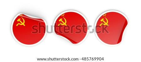 Flag of ussr, three round labels isolated on white. 3D illustration