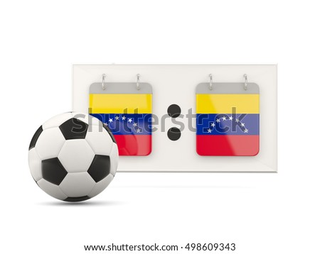 Flag of venezuela, football with scoreboard and national team flag. 3D illustration
